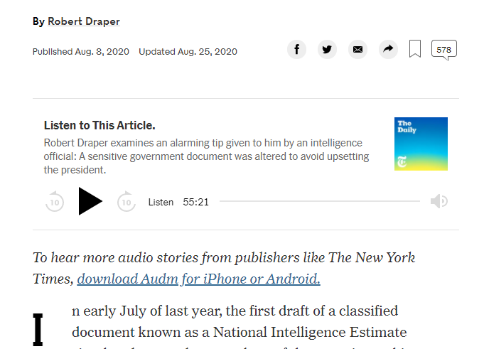 Captura de podcasts del New York Times